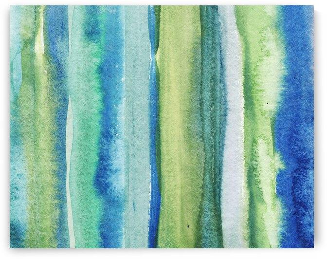 Ocean And Sea Beach Coastal Art Organic Watercolor Abstract Lines I by Irina Sztukowski