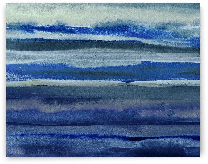 Ocean And Sea Beach Coastal Art Organic Watercolor Abstract Lines III by Irina Sztukowski