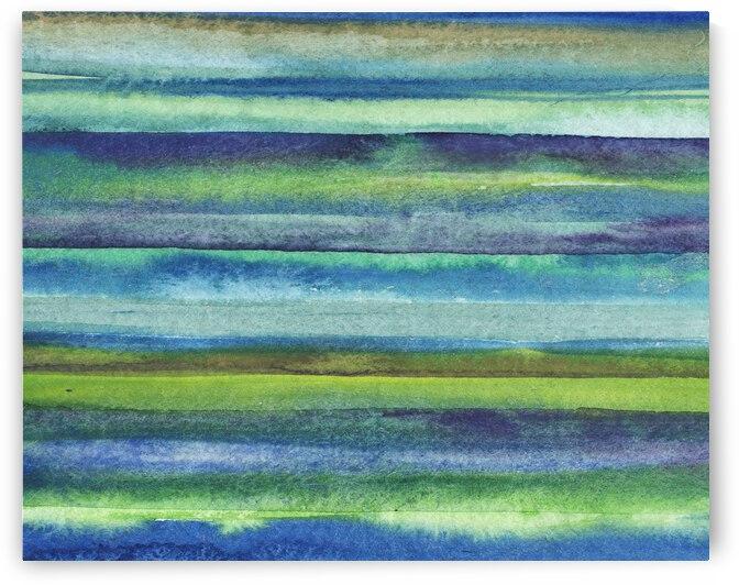 Ocean And Sea Beach Coastal Art Organic Watercolor Abstract Lines VI by Irina Sztukowski