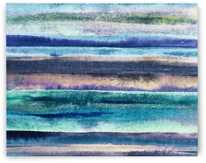 Ocean And Sea Beach Coastal Art Organic Watercolor Abstract Lines VII by Irina Sztukowski