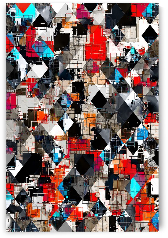 geometric pixel square pattern abstract background in red blue by TimmyLA