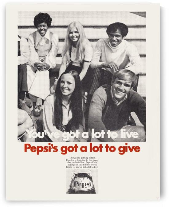 1970 Pepsi Ad Poster by Row One Brand