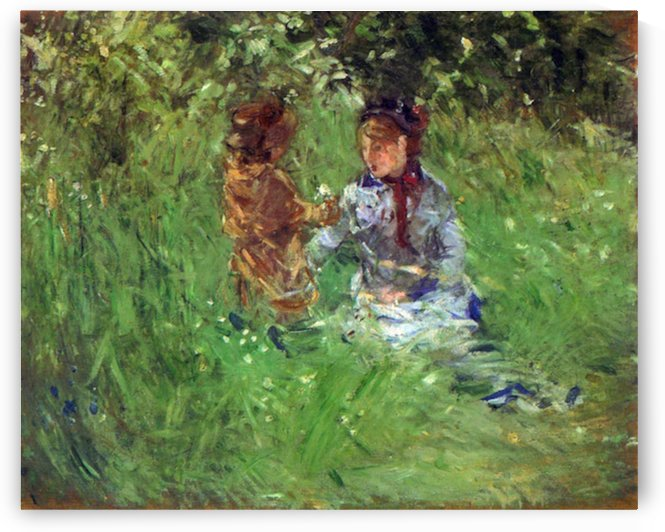 Woman and child in garden in Bougival by Morisot by Morisot