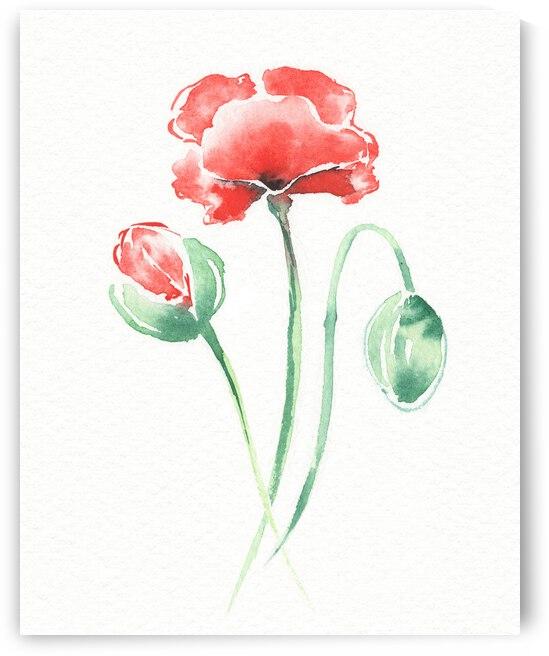 Graceful Beauty Botanical Watercolor Three Red Poppies Flowers I  by Irina Sztukowski