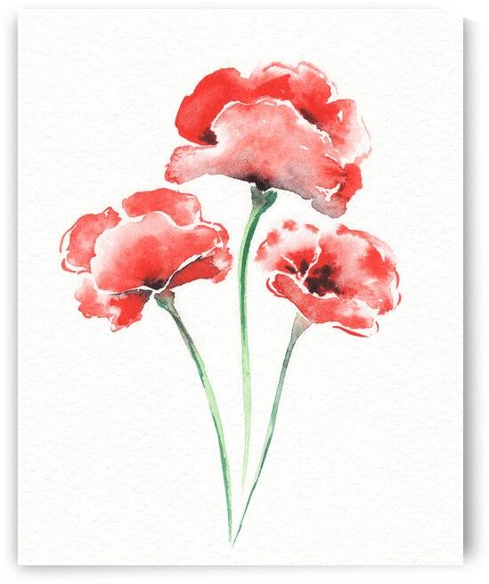 Graceful Beauty Botanical Watercolor Three Red Poppies Flowers II by Irina Sztukowski