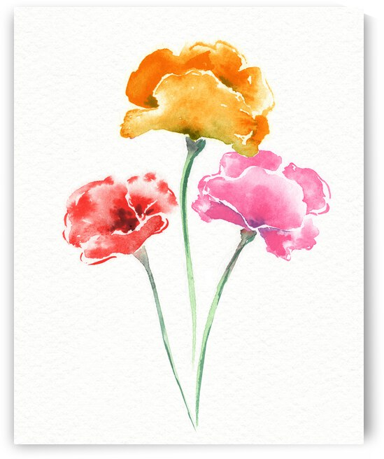 Graceful Beauty Botanical Watercolor Three Iceland Poppies Flowers  by Irina Sztukowski