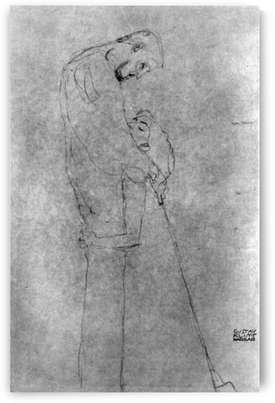 Woman and man standing in profile by Klimt by Klimt