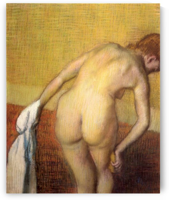 Woman Drying with towel and sponge by Degas by Degas