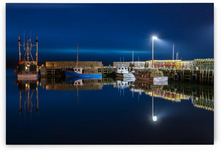 Night Time at the Wharf by Michel Soucy