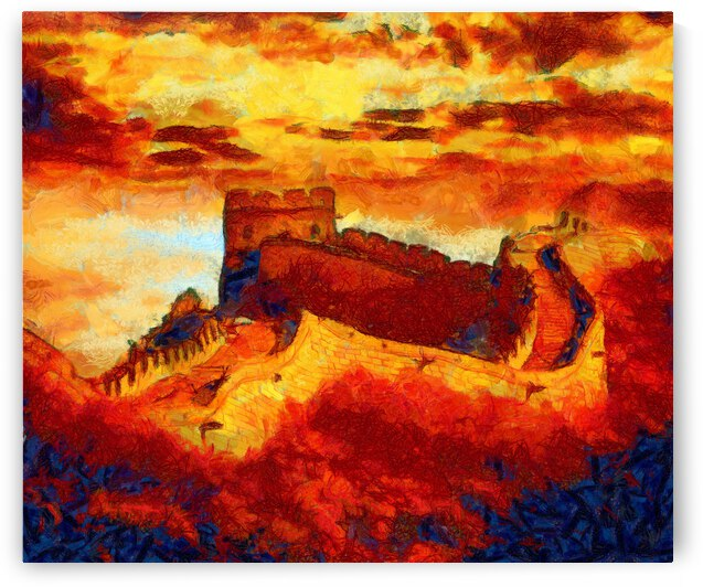CHINA GREAT WALL OIL PAINTING IN VINCENT VAN GOGH STYLE. 78. by ArtEastWest