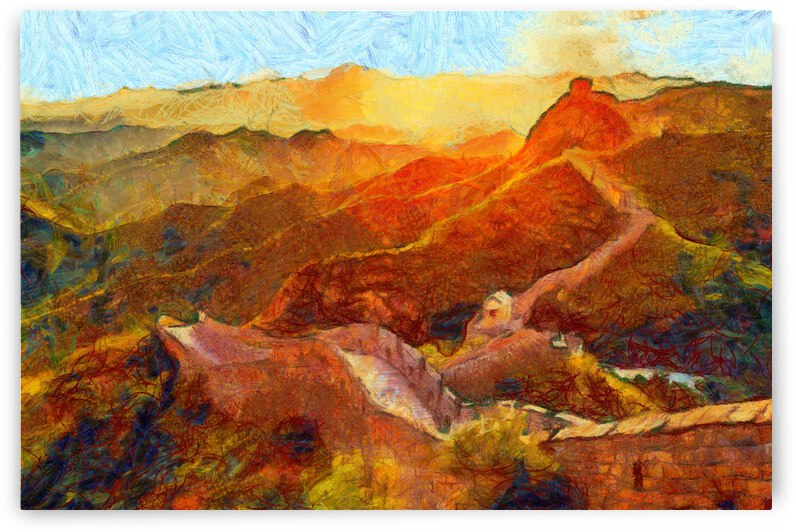 CHINA GREAT WALL OIL PAINTING IN VINCENT VAN GOGH STYLE. 55. by ArtEastWest