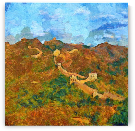 CHINA GREAT WALL OIL PAINTING IN VINCENT VAN GOGH STYLE. 82. by ArtEastWest