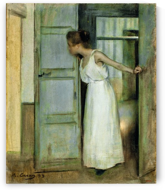 Beautiful woman opening the door by Ramon Casas i Carbo