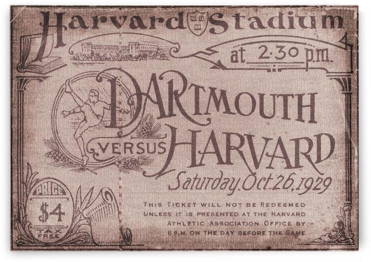 1929 Dartmouth vs. Harvard Football Ticket Metal Sign by Row One Brand