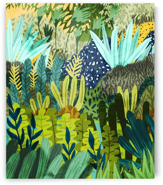 Wild Jungle Painting Forest Dark Botanical Nature Plants Tropical Eclectic Modern Illustration  by 83 Oranges
