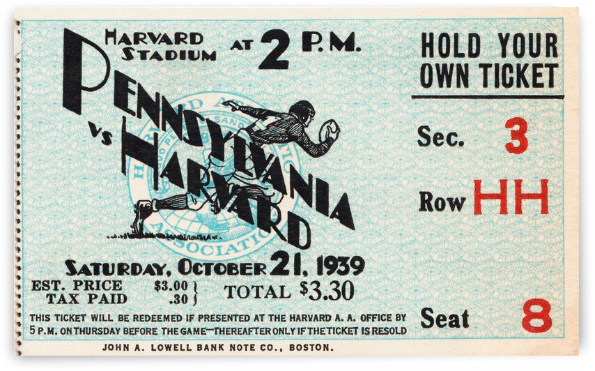 1939 Penn vs. Harvard Football Ticket Canvas by Row One Brand