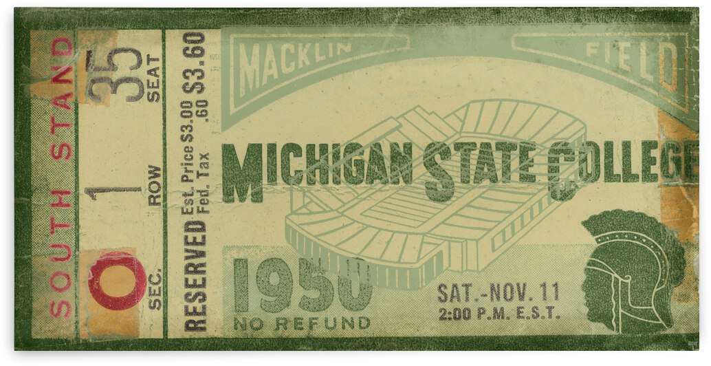 1950 Michigan State College Football Ticket Remix Art by Row One Brand