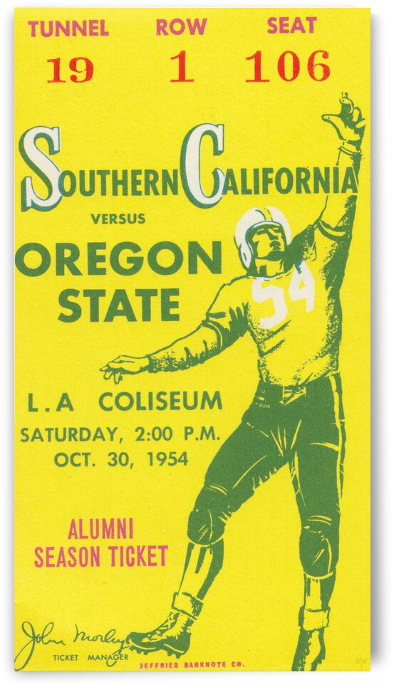 1954 USC vs. Oregon State Football Ticket Canvas by Row One Brand