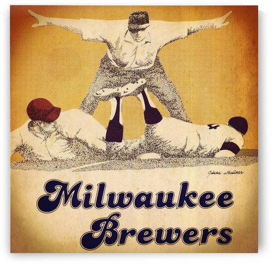1984 Milwaukee Brewers Baseball Art by Row One Brand