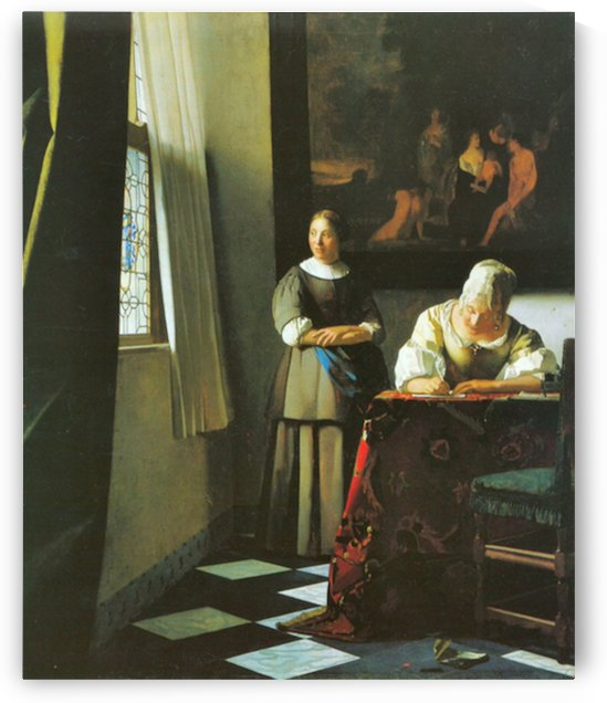 Woman with messenger by Vermeer by Vermeer
