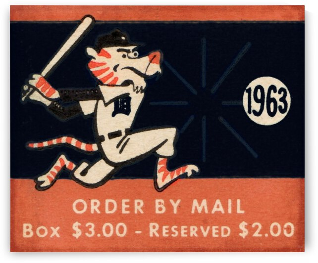 1963 Detroit Tigers Vintage Art by Row One Brand