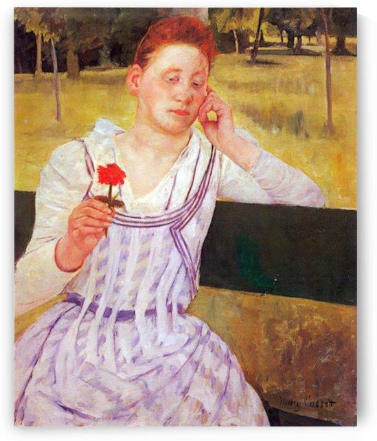 Woman with red Zinnia by Cassatt by Cassatt