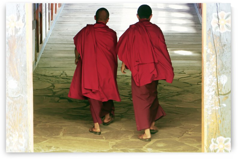 Monks at the temple by Alain Beaudouard