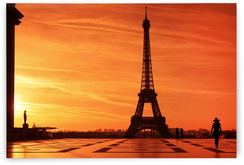 Eiffel tower and parisian girl by Hassan Bensliman