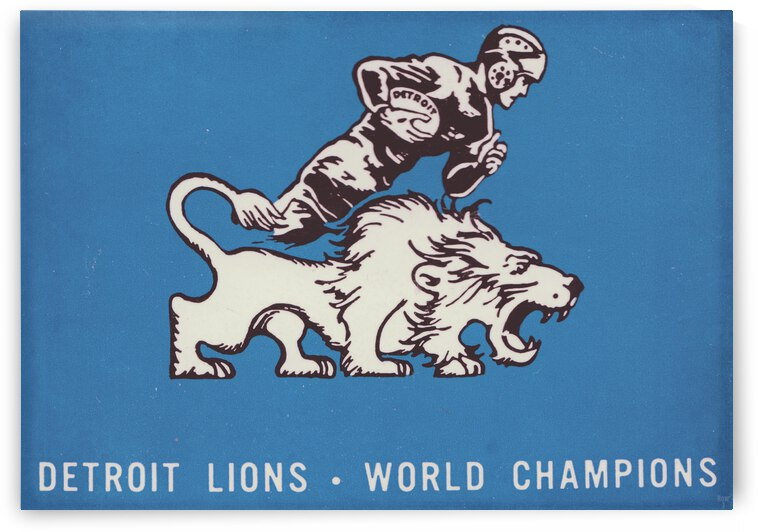 1957 Detroit Lions Vintage Football Art by Row One Brand