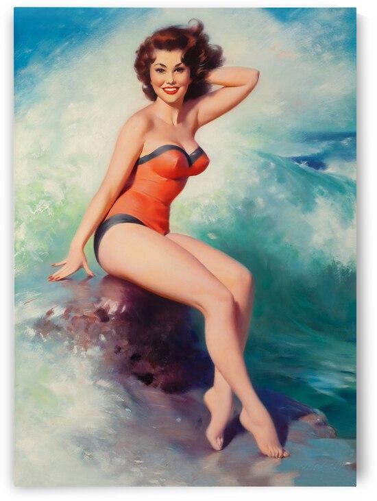 Summer Girl on Ocean Wave by vintagesupreme
