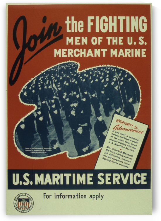 Join the Fighting Men of The US Merchant Marine by VINTAGE POSTER