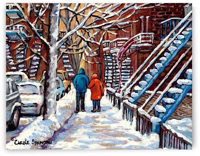 MONTREAL WINTER SCENE PLATEAU COUPLE WALKING by Carole  Spandau