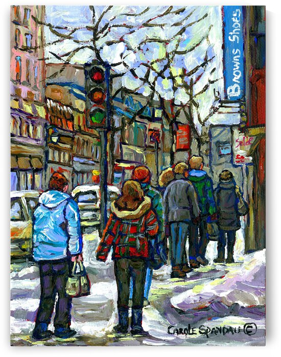 DOWNTOWN MONTREAL WINTER SCENE SHOPPERS ON ST. CATHERINE STREET by Carole  Spandau