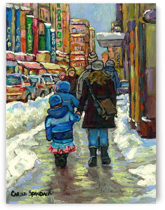 MONTREAL WINTER SCENES DOWNTOWN SHOPPERS by Carole  Spandau