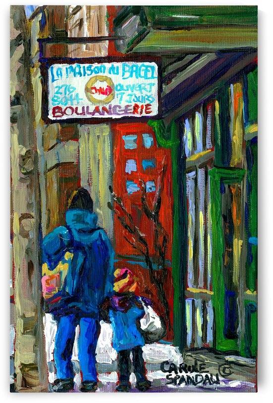 ST.VIATEUR BAGEL SHOP MILE END MONTREAL WINTER SCENE  by Carole  Spandau