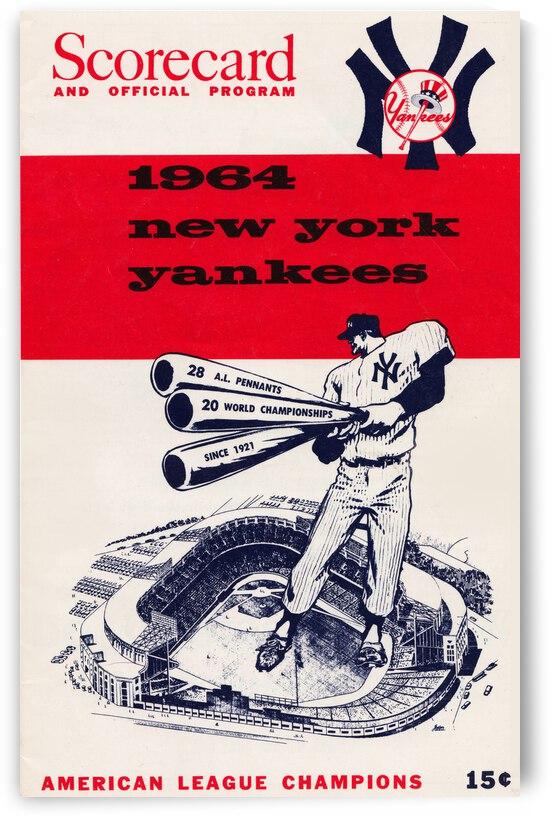 1964 New York Yankees Scorecard Metal Sign by Row One Brand