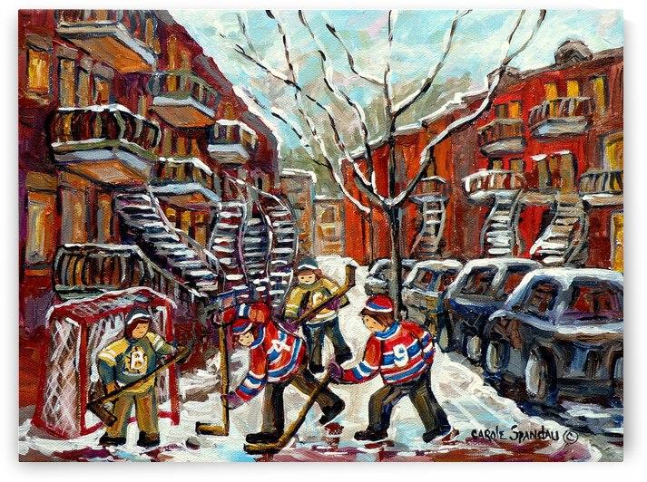 HOCKEY ON DEBULLION MONTREAL WINTER STREET HOCKEY SCENE by Carole  Spandau