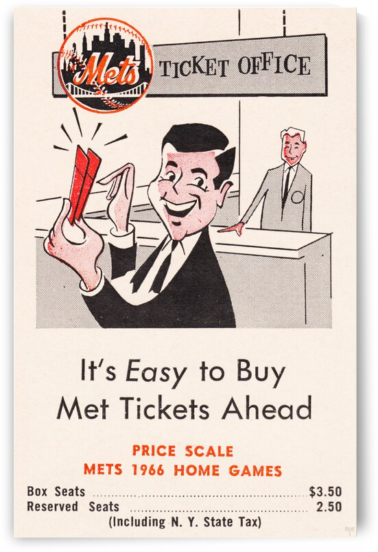 1966 New York Mets Tickets Advertisement Poster  by Row One Brand