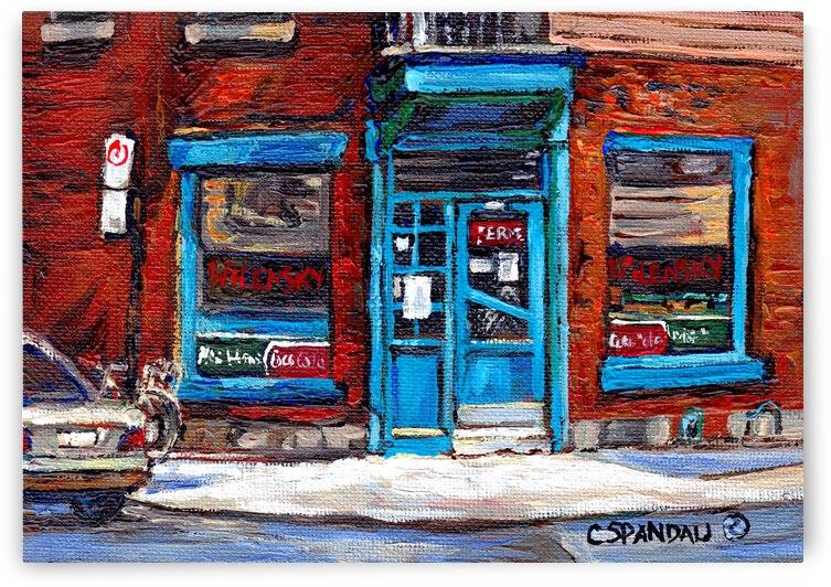 WILENSKY S DINER DOORWAY MILE END MONTREAL WINTER SCENE by Carole  Spandau