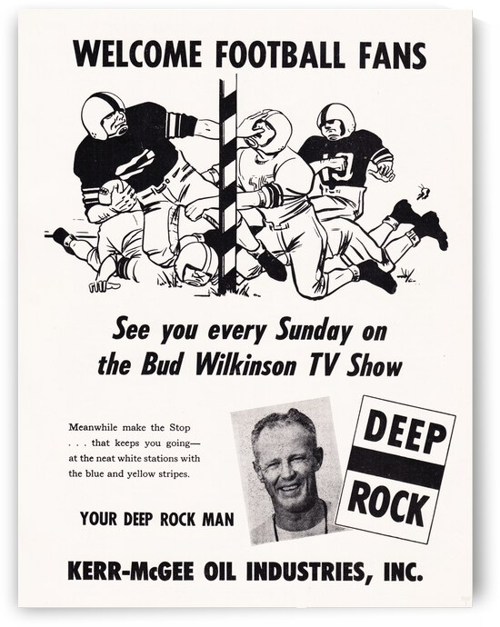 1960 Bud Wilkinson Oklahoma Football TV Show Ad Poster by Row One Brand