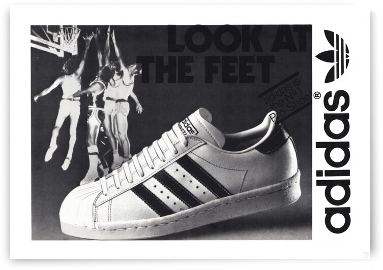 1977 Adidas Basketball Shoe Ad Poster by Row One Brand