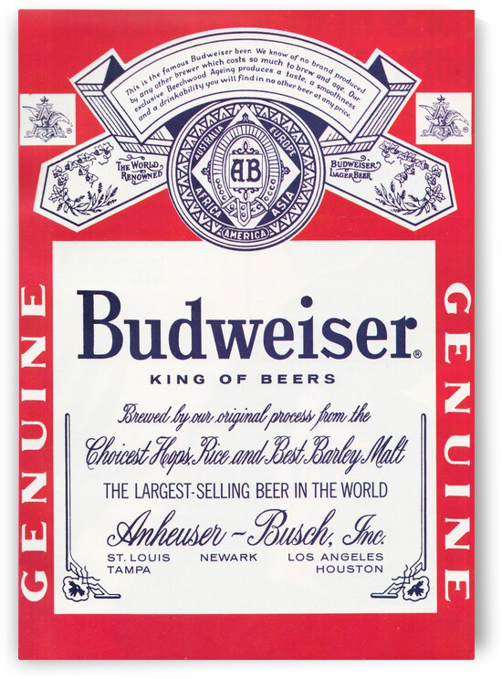 1968 Budweiser Beer Ad Poster by Row One Brand