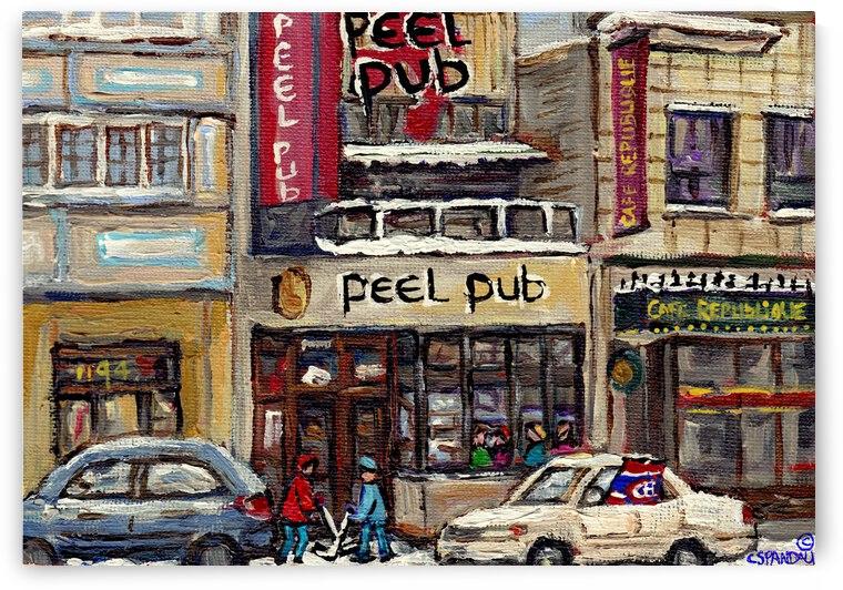 MONTREAL WINTER SCENE PEEL PUB DOWNTOWN  by Carole  Spandau