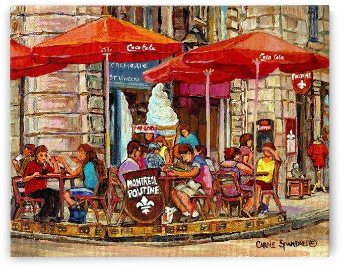 CREMERIE VIEUX PORT MONTREAL POUTINE OUTDOOR CAFE by Carole  Spandau