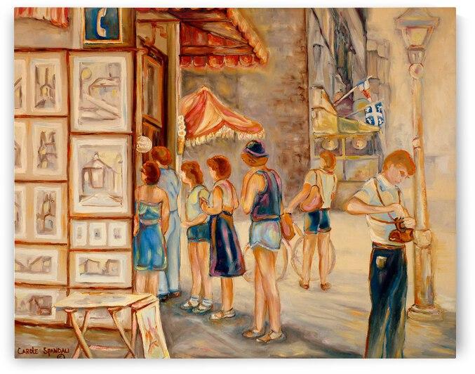 OLD MONTREAL ARTIST CORNER SUMMER STREET SCENE  by Carole  Spandau