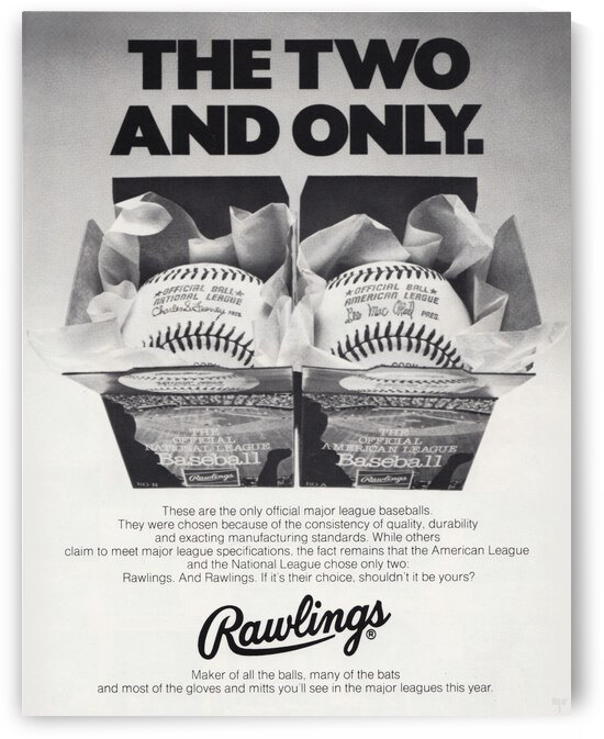 1977 Rawlings Baseball Ad Poster by Row One Brand