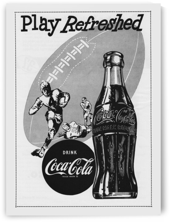 1952 Vintage Coke Football Ad Poster by Row One Brand