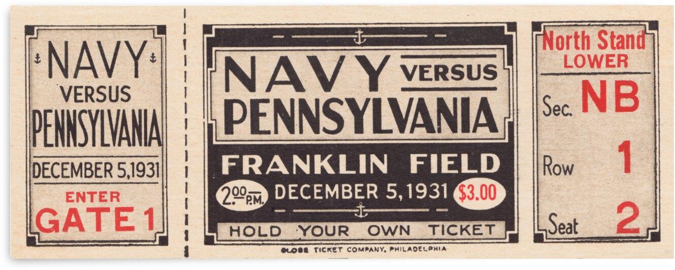 1931 Penn vs. Navy Football Ticket Metal Sign by Row One Brand