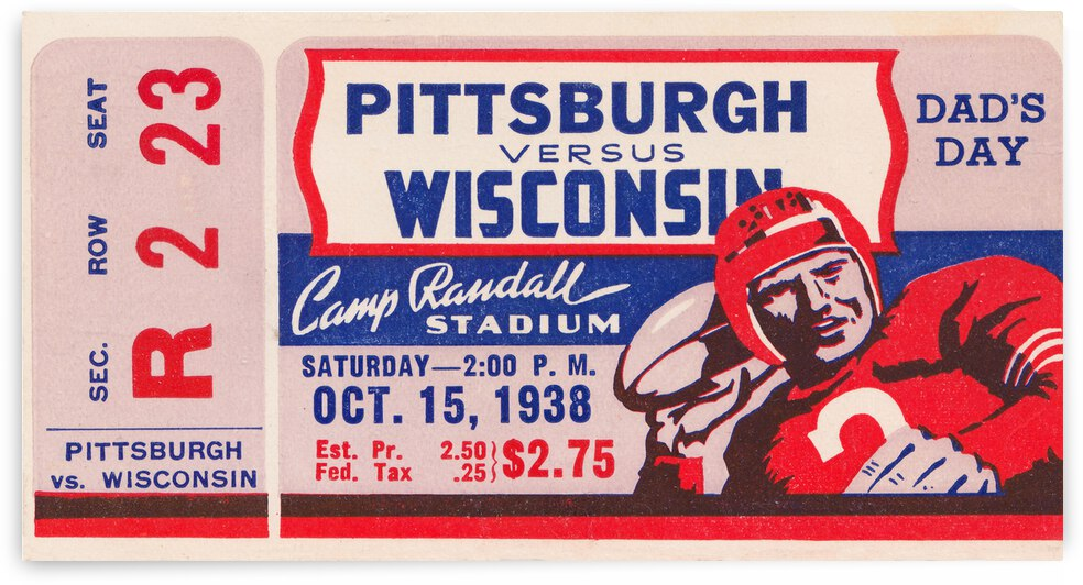 1938 Pittsburgh vs. Wisconsin Dads Day by Row One Brand