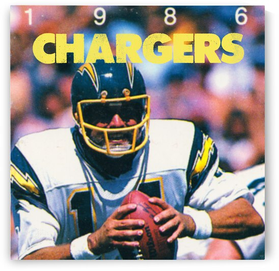 1986 San Diego Chargers Dan Fouts Football Poster by Row One Brand